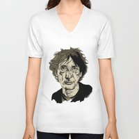 neil gaiman V-neck T-shirts featuring Neil Gaiman by Andy Christofi
