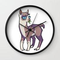 llama Wall Clocks featuring Llama by Suzanne Annaars
