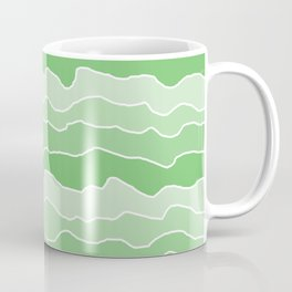 Four Shades of Green with White Squiggly Lines Coffee Mug