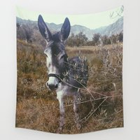 "donkey Wall Tapestries featuring ""Retro Donkey"" by Guido Montañés"