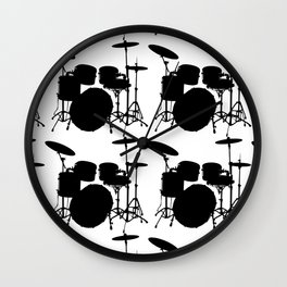 Drumset Pattern (Black on White) Wall Clock