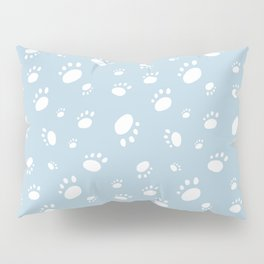 Soft Blue Paw Prints Pillow Sham