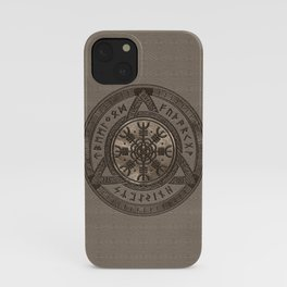 The Helm of Awe - Beige Leather and gold iPhone Case