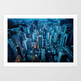Hong Kong downtown at night Art Print