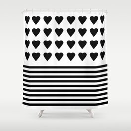 Heart Stripes Black on White Shower Curtain