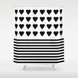 Heart Stripes Black on White Shower Curtain