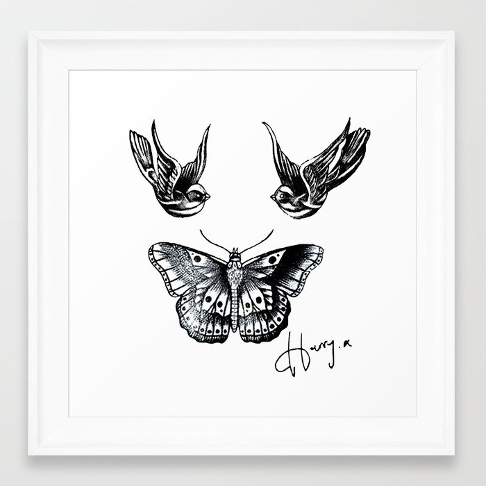 Harry Styles Tattoos Framed Art Print by wanderlusthipster | Society6