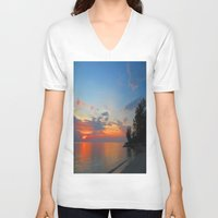 thailand V-neck T-shirts featuring A Thailand sunset by I AmErika