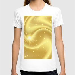 Gold abstract background with stars and particles. T-shirt