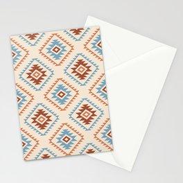 Aztec Style Motif Pattern Blue Cream Terracottas Stationery Cards