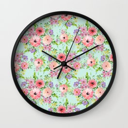 Blooming floral bouquet watercolor hand paint Wall Clock
