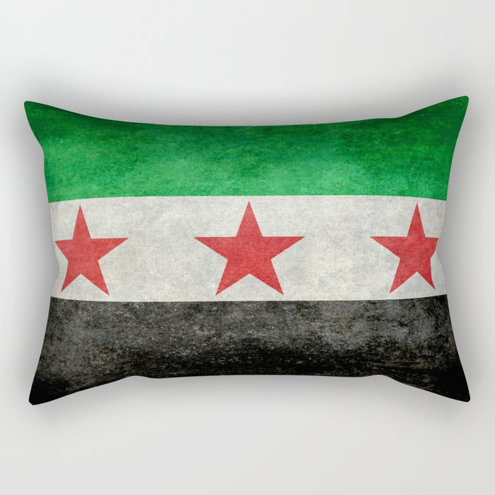 Independence flag of Syria, vintage retro style Rectangular Pillow