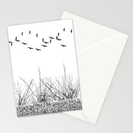 black and white winter landscape Stationery Cards