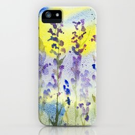 Lavender with blue and yellow background iPhone Case