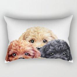 Toy poodle trio, Dog illustration original painting print Rectangular Pillow