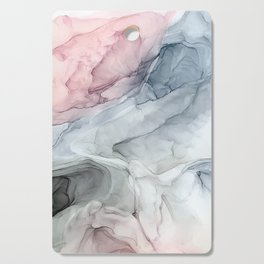 Pastel Blush, Grey and Blue Ink Clouds Painting Cutting Board