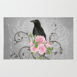 Wonderful crow with flowers Rug