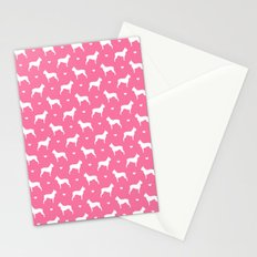 boston terrier silhouette pattern Stationery Cards