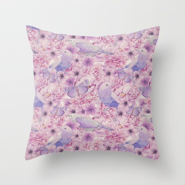 Watercolor Bird And Flower Pattern Throw Pillow by lebensart Society6