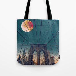 Blood Moon over the Brooklyn Bridge and New York City Skyline Tote Bag