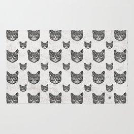 Swirly Cat Portrait (b/w) Rug