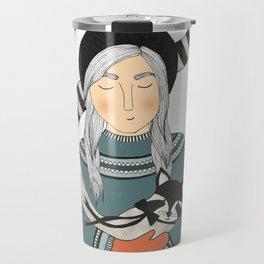Girl and Raccoon. Travel Mug