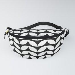 Black & White Leaf Petals Pattern Fanny Pack