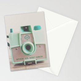 mint green vintage girl scout camera photograph Stationery Cards