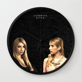 AHS vs Scream Queens - Emma Roberts Wall Clock