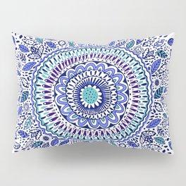 Indigo Flowered Mandala Pillow Sham
