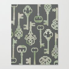 Skeleton Key Pattern in Gray Canvas Print