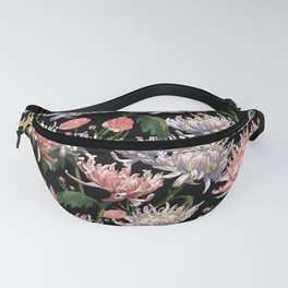 Coral + White Mums Fanny Pack