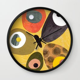 High Key Lemon Retro Mid Century Minimal Collage Wall Clock