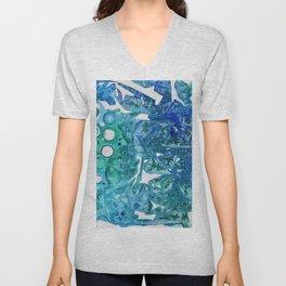 Sea Leaves, Environmental Love of the Ocean Blue Unisex V-Neck