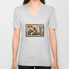 Man trapped in TV Unisex V-Neck