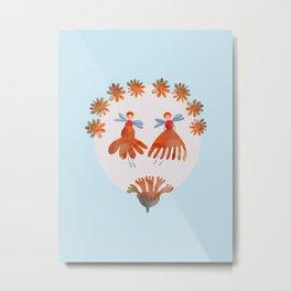 Summer Flower Fairies Watercolor Painting, Mischievous Floral Sprites in Orange & Pink Metal Print