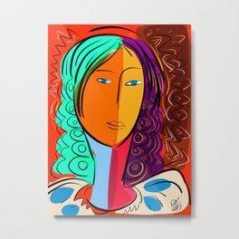 Red Portrait expressionism Metal Print