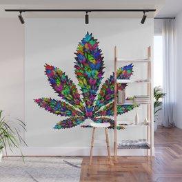 Butterflies Cannabis Leaf Wall Mural