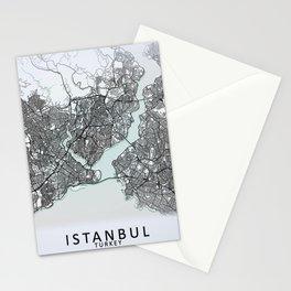 Istanbul, Turkey, White, City, Map Stationery Cards