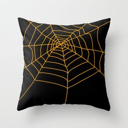 Spider Web - Halloween Orange and black Throw Pillow
