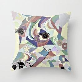 Smooth Fox Terrier Denim Colors Throw Pillow