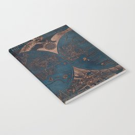 Rose gold and cobalt blue antique world map with sail ships Notebook