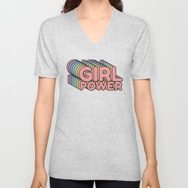 Girl Power grl pwr Retro Unisex V-Neck