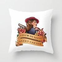agent carter Throw Pillows featuring Agent Carter Vintage Tattoo Light by Bonnie Detwiller