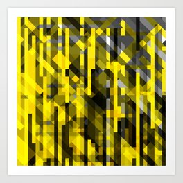 abstract composition in yellow and grays Art Print