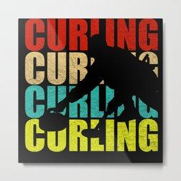 Retro Curling Metal Print