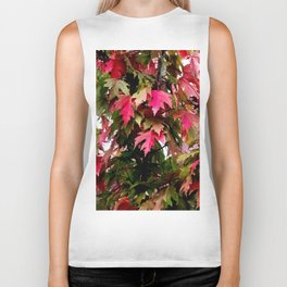 green and red leaves Biker Tank
