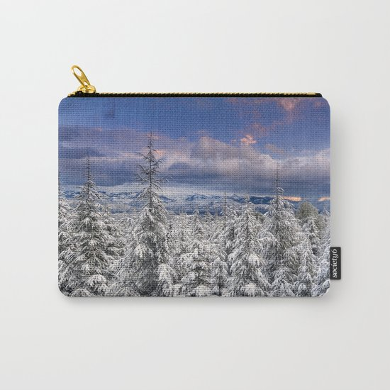 """""""Mountain Light III"""" Snowy Forest At Sunset Carry-All Pouch"""