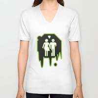 zombies V-neck T-shirts featuring Zombies by JJ Fry