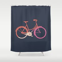 bike Shower Curtains featuring Bike by Leandro Pita